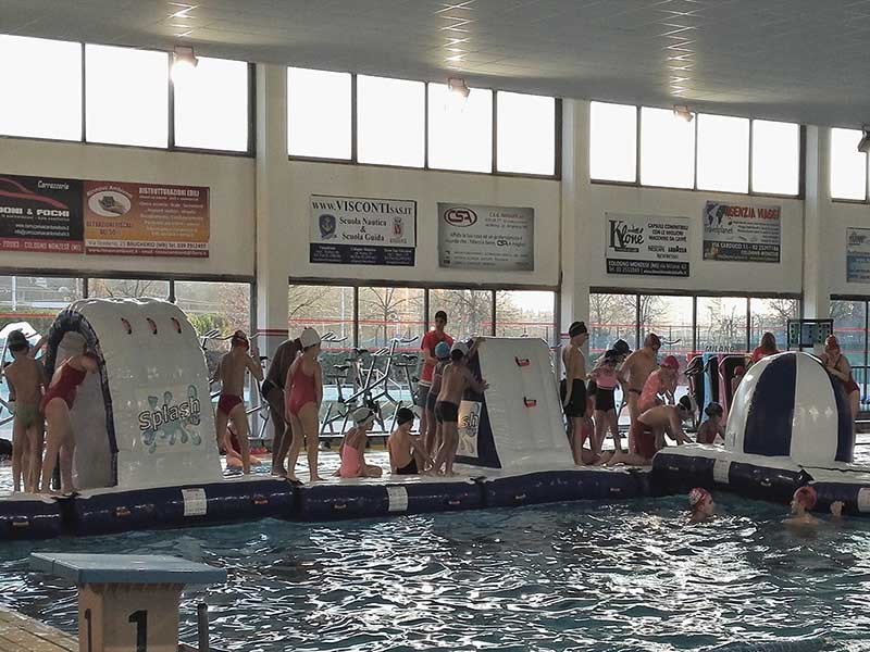 Splash Park gioco gonfiabile ostacoli galleggiante